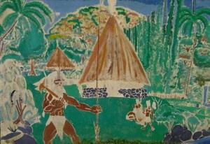 La grande case peinte : forme ronde, flèche faîtière, pins colonnaires