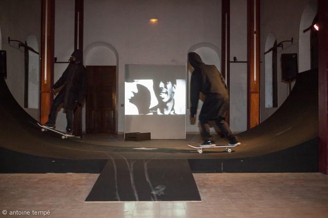 Steeve Bauras Installation 3K project : une vidéo, une rampe de skate et une preformance de skaters
