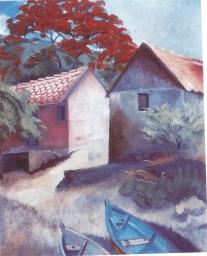 Jules Marillac Maison Rose avec un flamboyant Vers 1930