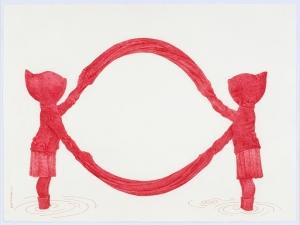 Niñas Rojas, VII. 2008 Lapicero de tinta roja sobre papel arches 300gr.  56 x 76 cm. Colección Privada