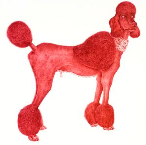 HAPPY, 2012. Dibujo de tinta de lapicero rojo sobre papel Arches de 300 gramos. 1m x 1m.  Colección Privada
