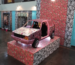 Ebony G. Patterson Cultural Soliloquay-Cultural Object Revisited, Mixed Media on Car with Sound,Installed at Seeline Gallery @ MOCA Pasific Design Center (Los Angeles), 2010