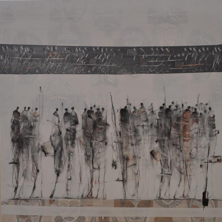 AU FIL D'UNE HISTOIREPeinture acrylique pigment et fusain sur toile, 100 x 99 cm