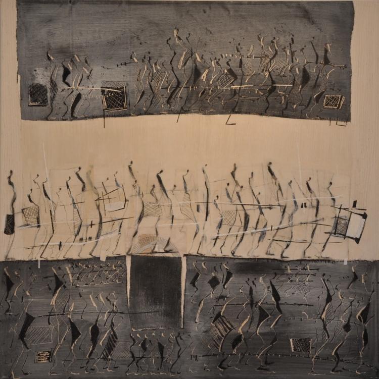 NOTES ARCHIVEES Peinture acrylique pigment sur toile 100 x 99 cm 2014
