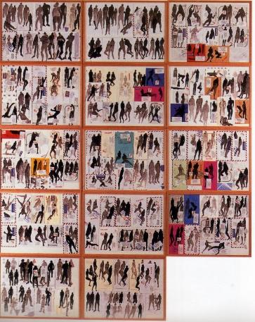 Alex Burke En mémoire de Gorée Encre de chine et lavis sur enveloppes - 1998