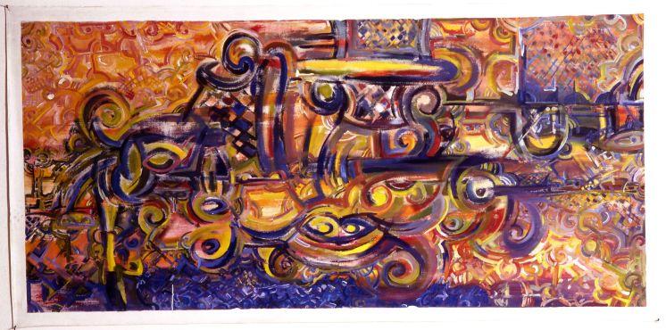 Invocation amérindienne Victor Anicet Acrylique sur toile– 1998 –150 x 56