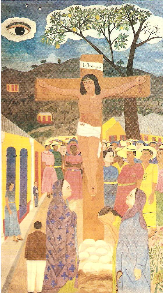 Philomé Obin Panneau de la crucifixion, 1950, anciennement à la Cathédrale Épiscopale de la Ste.Trinité, Haïti
