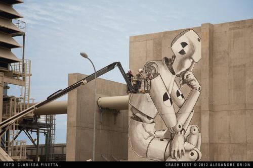 CRASH TEST . 2011-2012 . 15 X 9 m . Pollution & encre acrylique incolore, Pont-a-Mousson France