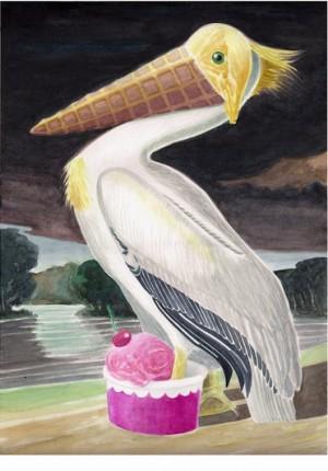 IceCreamPélican, Aquarelle sur papier, 41x31cm, 2014
