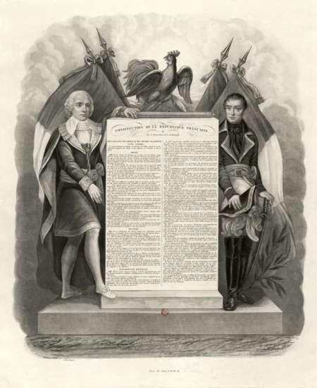 Gravure de Bernard montrant la Déclaration des droits et des devoirs de l'homme et du citoyen de 1795, préambule à la Constitution de l'an III qui fonde le Directoire (BNF)