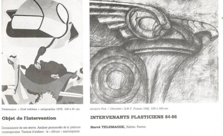 Programme de l'Ecole régionale d'arts visuels de Martinique: intervention d'Hervé Télémaque sur la clôture martiniquaise