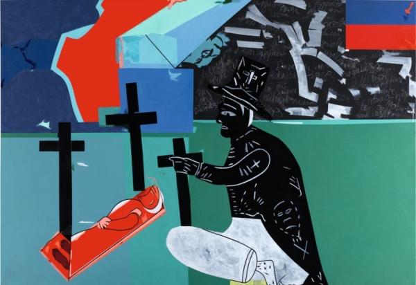 Le voyage d'Hector Hyppolite N°1 Acrylique sur toile 2000 161,5 x 243 cm Collection Musée d'art moderne de la ville de Paris