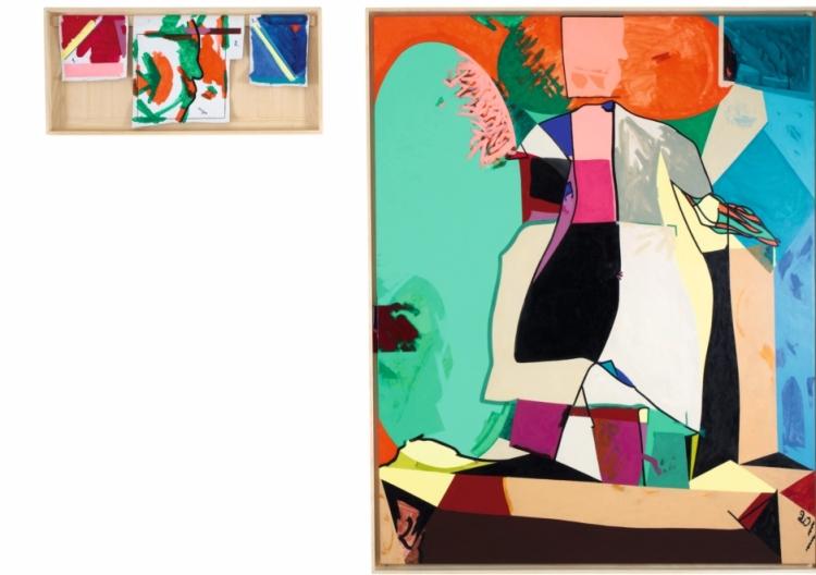 Infirmière de couleur, bouchon de canopée (Alchimie carnavalesque) 2011 Acrylique sur toile 160 x 130 cm et 37 x 81,5 cm Fondation Clément, La Martinique