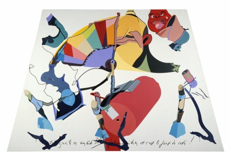 Hervé Télémaque Dérives N°2 acrylique sur toile, 200 x 310, 1983, acquisition du FRAC Martinique en 1987