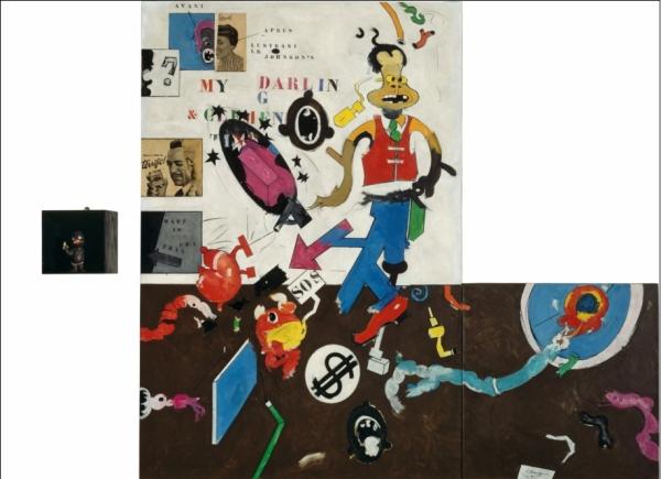My Darling Clementine 1963 Huile sur toile, papiers collés, boite en bois peint, poupée en caoutchouc, Plexiglas 194,5 x 245 ; boîte : 25,3 x 25,3 x 24,9 cm Paris, Centre Pompidou, Musée national d'art moderne