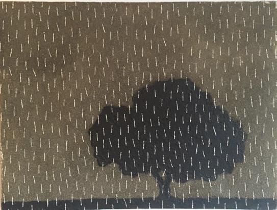 Fermin Ceballos Árbol bajo la lluvia Technique mixte sur toile 42 x 42 cm 2009