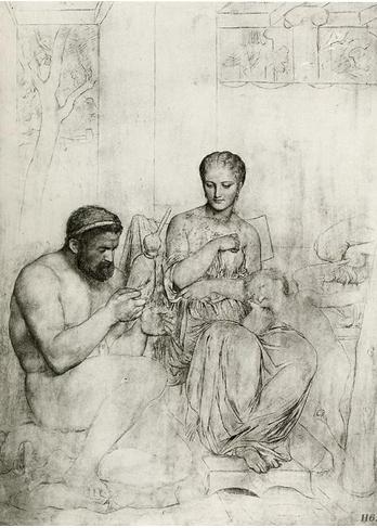 Charles Gleyre , dessin préparatoire Hercule aux pieds d'Omphale