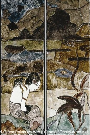 Paul Gauguin , Tahitienne dans un paysage ; 1893 ; Peinture sur verre – photo Musée d'Orsay
