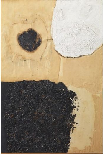 Alberto Burri, Combustione, 1960 100 X70 cm papier, acrylique, colle et combustion sur toile