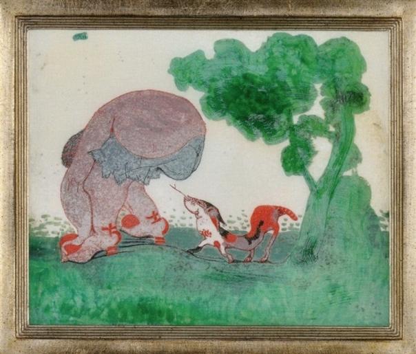 Klee, Jeune fille se baissant suivie par un basset ressemblant à un serpent 1906