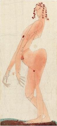 Klee, Nu féminin au postérieur protubérant, monumentalement sûr de lui, 1905