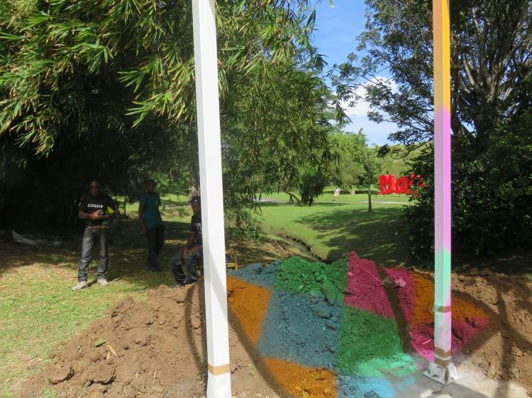Reflets colorés en cours d'nstallation