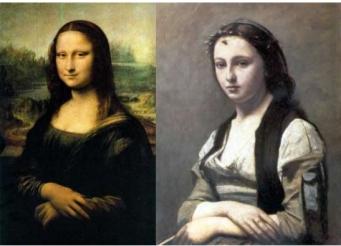 1 La Joconde de Léonard de Vinci et La femme à la perle de Corot