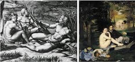 24 le jugement de Paris de Raphaël et le déjeuner sur l'herbe de Manet