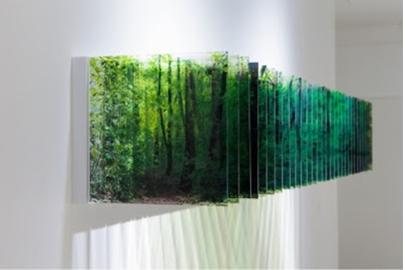 Nobuhiro Nakanishi Layer Drawing (Light of Forest), 2013, impression jet d'encre sur film, plastique acrylique, (30 feuilles) 28,5 x 198 x 31 cm.
