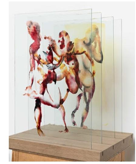 Eric Fishl Dancers, 2017, peinture sur verre sur socle de bois 49 x 45 X 34