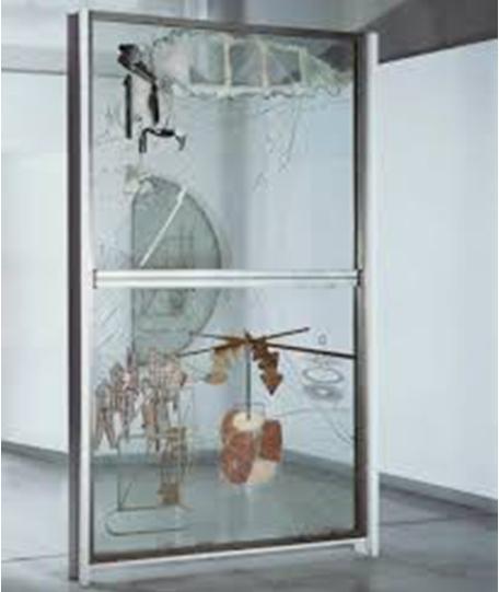 Marcel Duchamp, La Mariée mise à nu par ses célibataires, même ou Le Grand Verre, 1915-1923 huile, feuille de plomb, fil de plomb, poussière et vernis sur deux plaques de verre