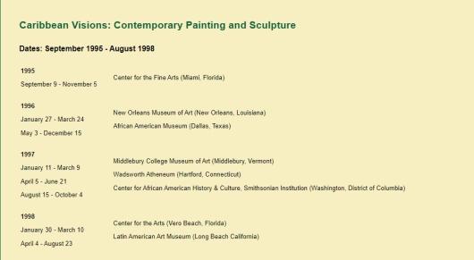 Caribbean visions ( USA) de 1995 à 1998 Curator SAmella Lewis